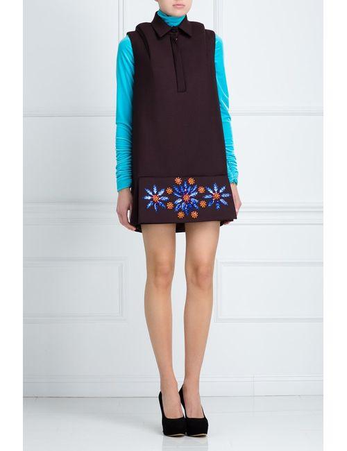 Delpozo | Женское Коричневое Шерстяное Платье