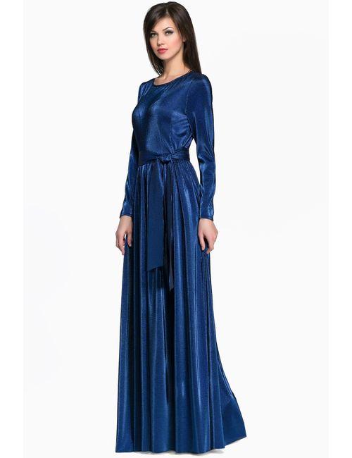 Anna Stevar | Женское Синее Платье С Поясом Uc112
