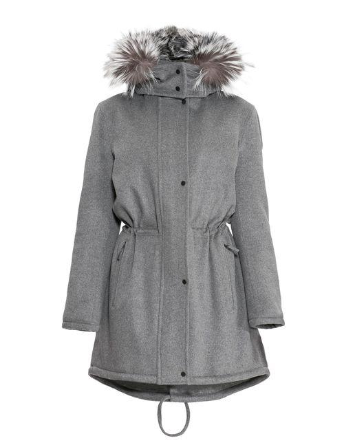 Izeta | Женское Серое Кашемировое Пальто С Капюшоном И Мехом Тл-5000