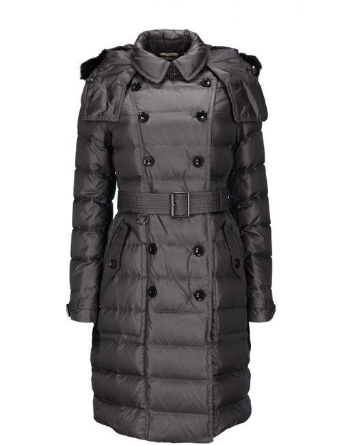 Burberry Brit | Женское Серое Пальто С Капюшоном И Поясом