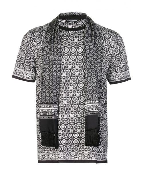 Dolce & Gabbana | Мужская Белая Футболка Джерси С Шарфом