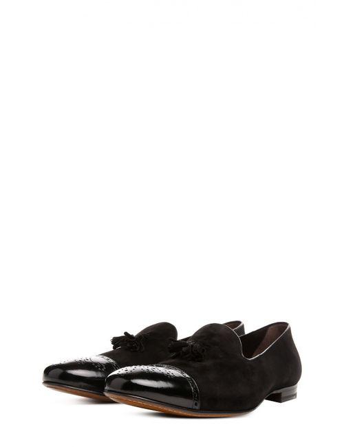 H`D`S`N Baracco | Мужские Чёрные Лоферы С Рожком Для Обуви