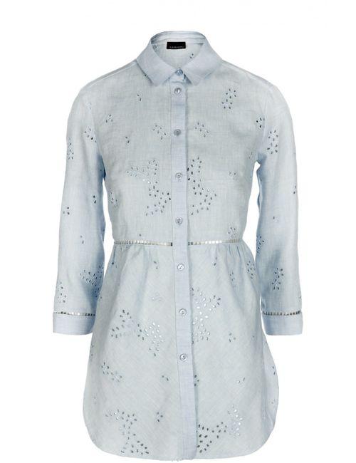 ERMANNO BY ERMANNO SCERVINO | Женская Голуба Кружевная Льняная Блуза