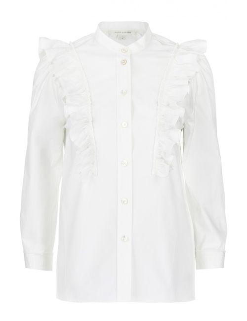 Marc Jacobs | Женская Белая Блуза Прямого Кроя С Воланами И Воротником-Стойкой