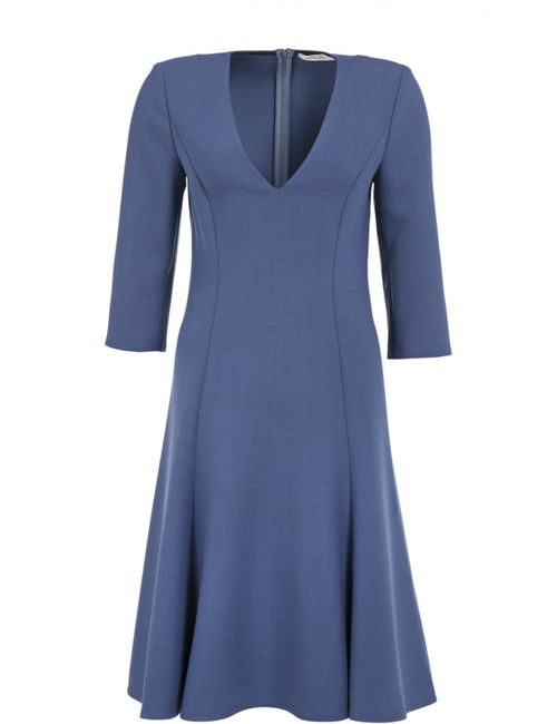 Dorothee Schumacher | Женское Голубое Приталенное Платье С Укороченным Рукавом И V-Образным