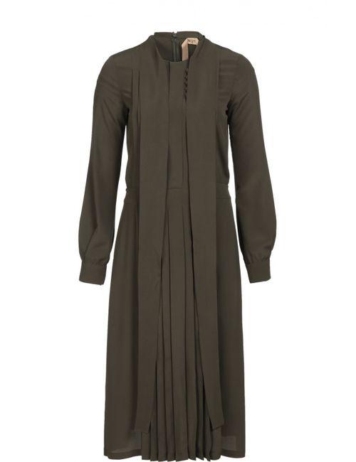 No. 21 | Женское Хаки Приталенное Платье С Воротником Аскот И Плиссированной