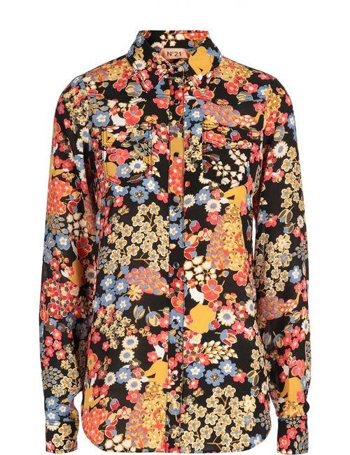 No. 21 | Женская Многоцветная Шелковая Блуза С Контрастным Принтом И Накладными