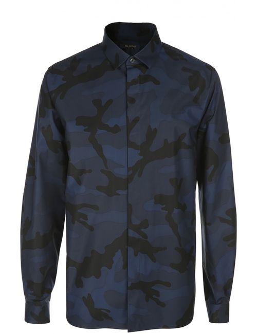 Valentino | Мужская Синяя Принтованная Рубашка С Воротником Кент