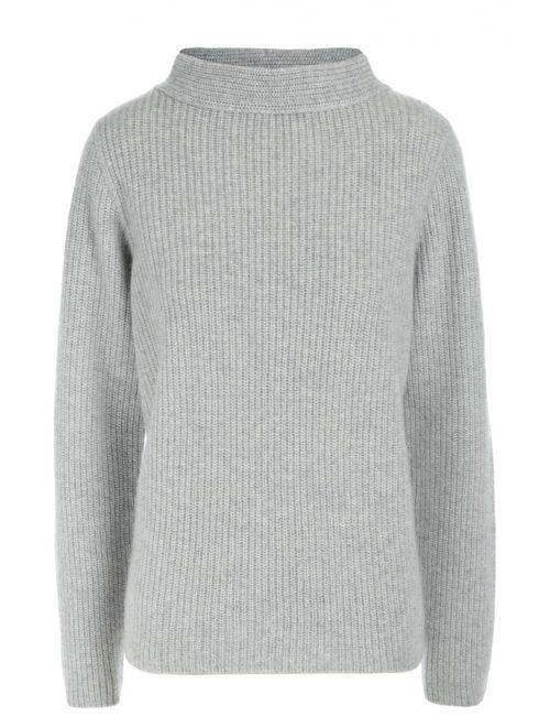 Windsor | Женский Серый Кашемировый Пуловер Фактурной Вязки С Высоким Воротником