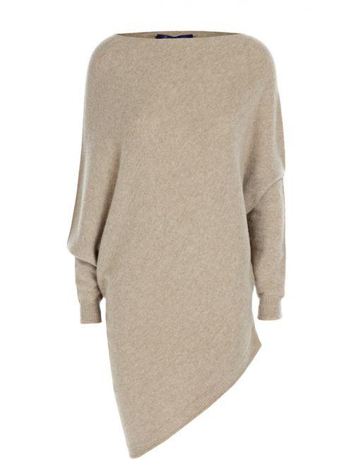 Ralph Lauren | Женский Бежевый Удлиненный Кашемировый Пуловер С Вырезом-Лодочка