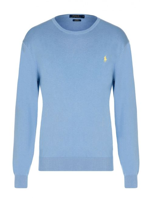 Polo Ralph Lauren | Мужской Голубой Хлопковый Джемпер С Круглым Вырезом