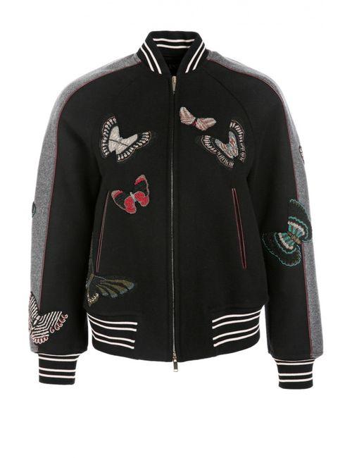 Valentino | Женская Чёрная Куртка-Бомбер С Вышивкой Бисером