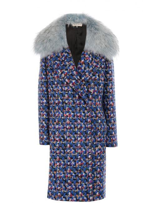 Emilio Pucci | Женское Синее Шерстяное Пальто С Воротником Из Меха Енота