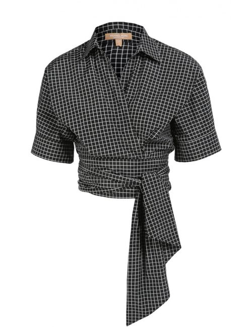 Michael Kors | Женская Белая Укороченная Хлопковая Блуза С Поясом