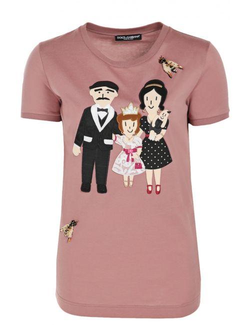 Dolce & Gabbana   Женская Розовая Футболка Прямого Кроя С Аппликацией Dg Family
