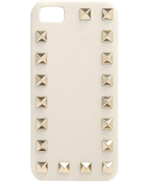 Valentino | Белый Кожаный Яехол Для Iphone Se/5s/5 С Шипами