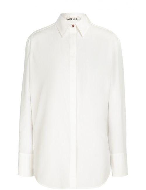Acne | Женская Белая Хлопковая Блуза Прямого Кроя