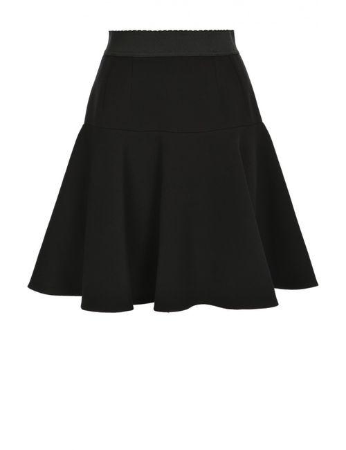 Dolce & Gabbana | Женская Чёрная Расклешенная Юбка С Эластичным Поясом