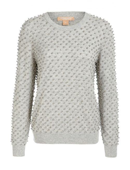 Michael Kors | Женский Серый Кашемировый Пуловер С Отделкой Стразами