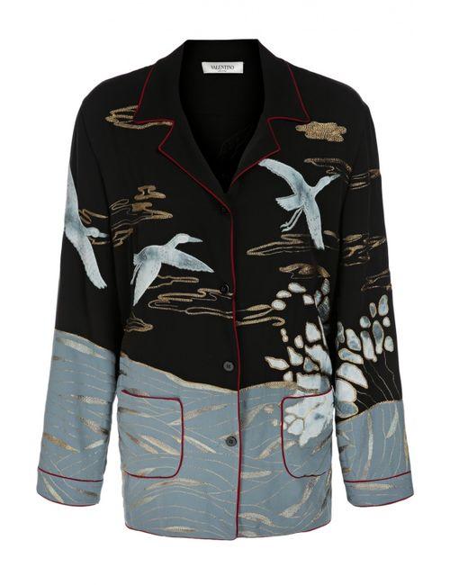 Valentino | Женская Голуба Шелковая Блуза В Пижамном Стиле С Вышивкой