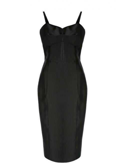 Michael Kors | Женское Чёрное Приталенное Платье На Бретельках