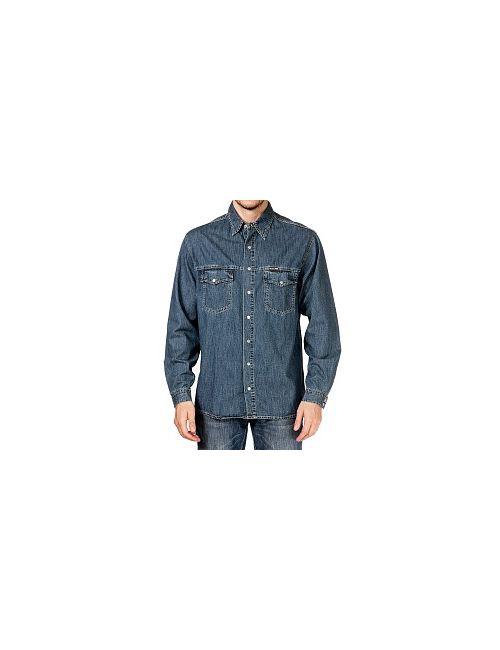 Westland | Мужская Тёмно-Серо-Лазурная Джинсовая Рубашка Мужская Ls