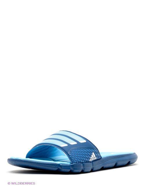 Adidas | Женские Синие Шлепанцы