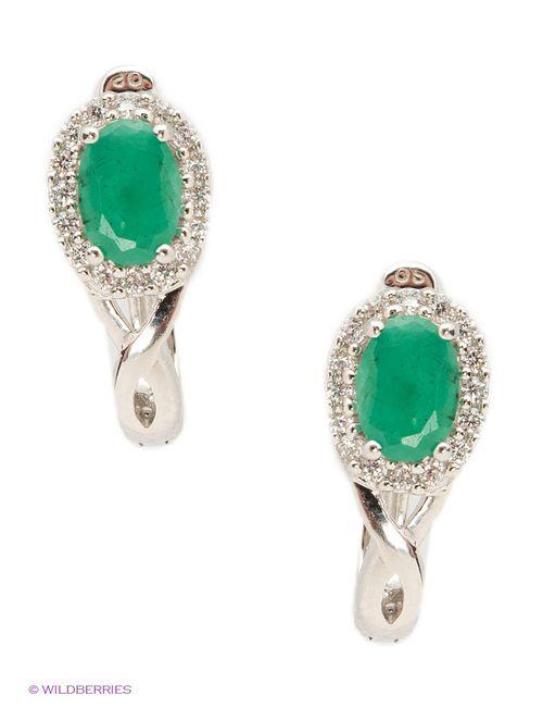 Art Silver   Женские Зелёные Ювелирные Серьги