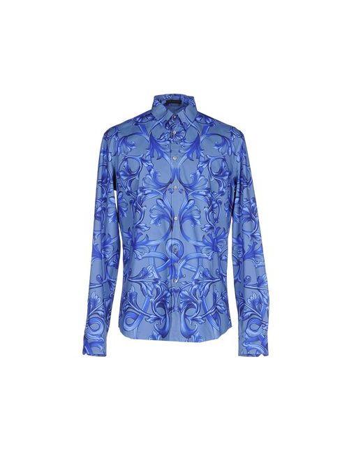 Versace | Мужская Синяя Pубашка