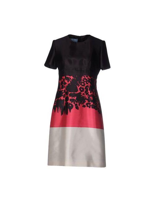 Prada   Женское Баклажанное Короткое Платье