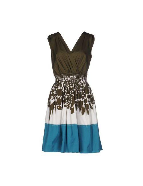Prada | Женское Зелёное Платье До Колена