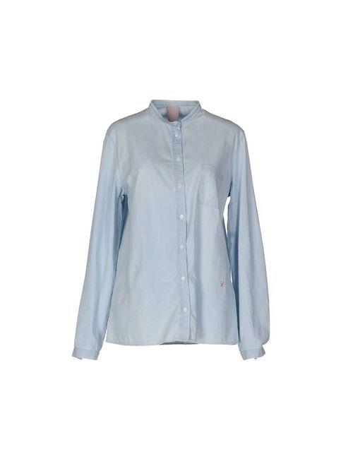 (+) People   Мужская Синяя Джинсовая Рубашка