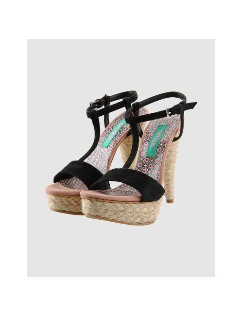 Mink Vegan Shoes | Женские Чёрные Босоножки На Платформе