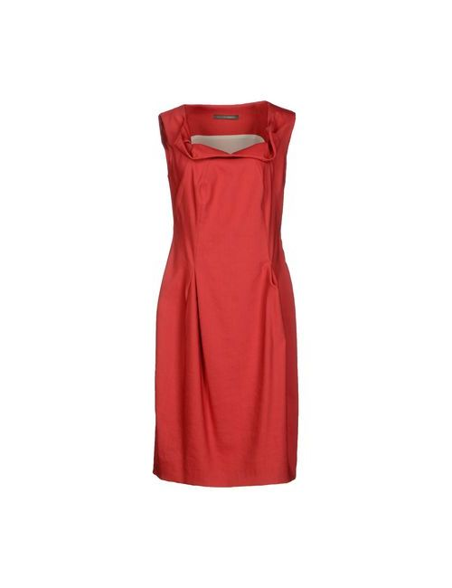 Alberta Ferretti   Женское Красное Платье До Колена