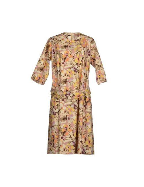 Marni | Женское Бежевое Платье До Колена