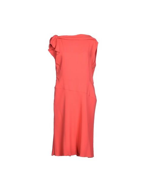 Valentino | Женское Коралловое Платье До Колена