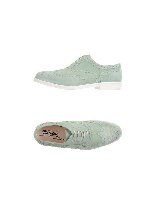 Borgioli | Мужская Зелёная Обувь На Шнурках