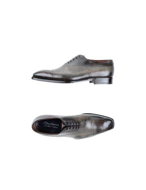SANTONI LIMITED EDITION | Мужская Хаки Обувь На Шнурках