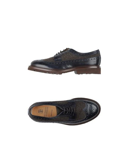 Brunello Cucinelli   Мужская Синяя Обувь На Шнурках