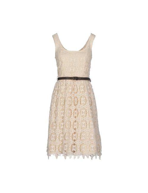 Hazel Brown | Женское Слоновая Костящее Платье До Колена