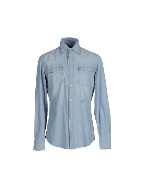 Hydrogen   Мужская Синяя Джинсовая Рубашка