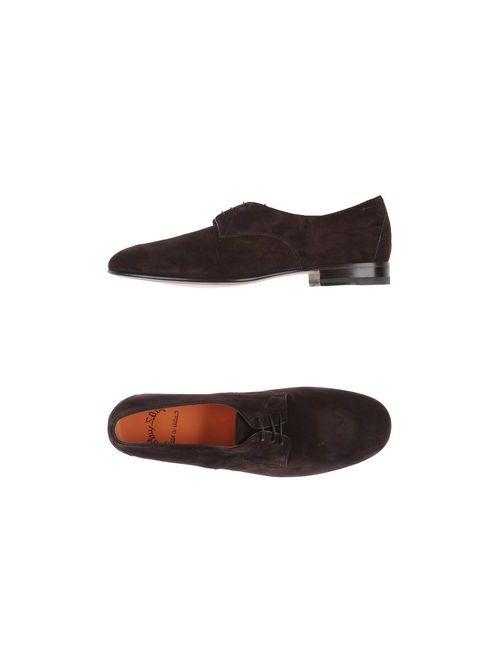 Santoni | Мужская Коричневая Обувь На Шнурках