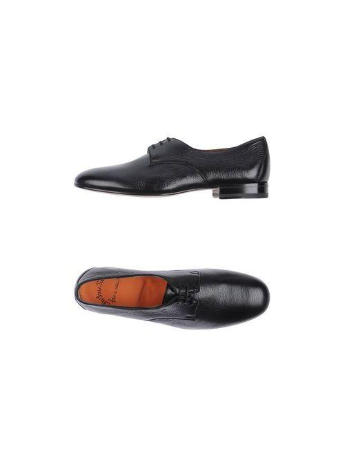 Santoni | Мужская Чёрная Обувь На Шнурках