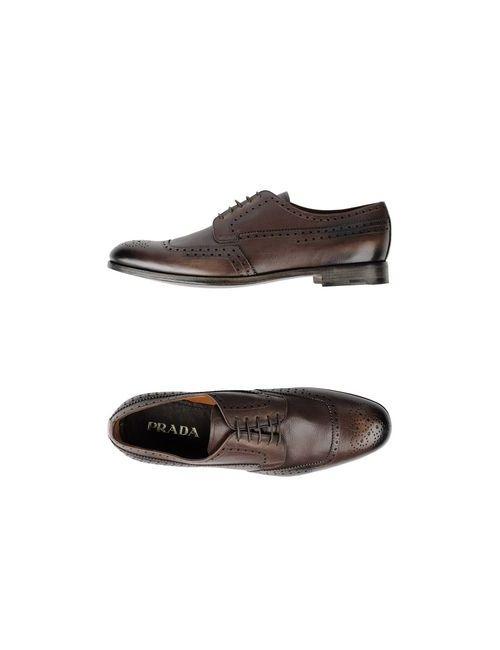 Prada | Мужская Хаки Обувь На Шнурках