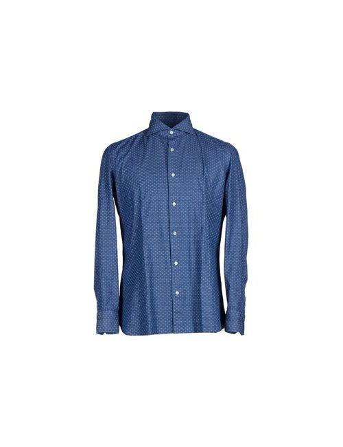 Luigi Borrelli Napoli   Мужская Синяя Джинсовая Рубашка