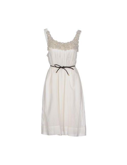 Twin-Set Simona Barbieri | Женское Слоновая Костящее Платье До Колена