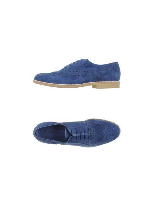 Santoni | Женская Синяя Обувь На Шнурках
