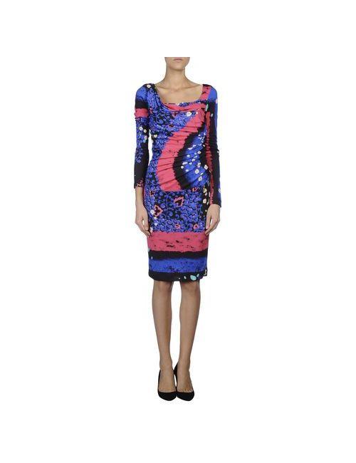 Class Roberto Cavalli | Женское Синее Платье До Колена