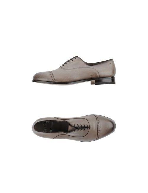 Santoni | Мужская Серая Обувь На Шнурках