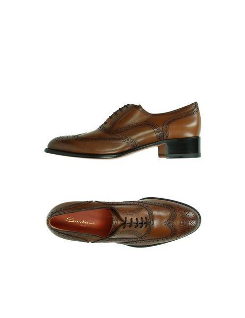 Santoni   Женская Коричневая Обувь На Шнурках